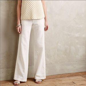 Anthropologie White Linen Pants Pilcro Wide Leg